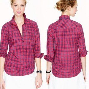 J Crew Plaid Popover 00 Red Button Down Shirt